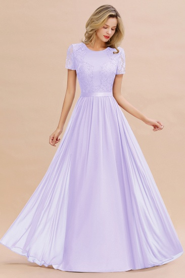 Elegant Chiffon Lace Jewel Short-Sleeves Affordable Bridesmaid Dress_21