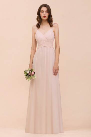 Spaghetti Straps Ruffle Blushing Pink Bridesmaid Dress