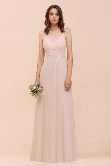Spaghetti Straps Ruffle Blushing Pink Bridesmaid Dress