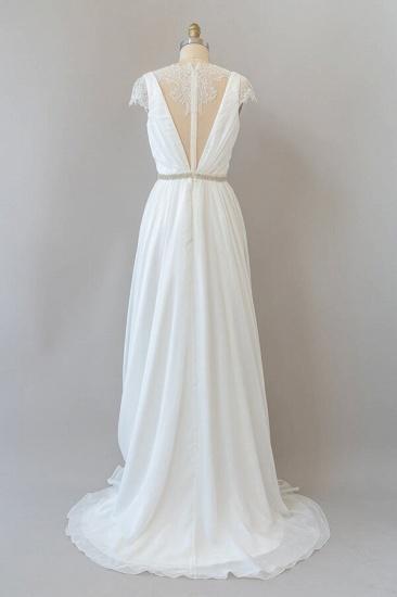 BMbridal Cap Sleeve V-neck Lace Chiffon Sheath Wedding Dress Online_3