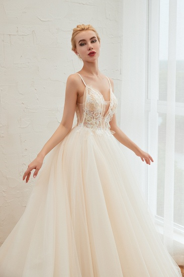 BMbridal Elegant Spaghetti-Starps Tulle Wedding Dress With Appliques_10
