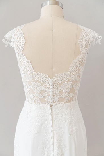 BMbridal Cap Sleeve Illusion Lace Sheath Wedding Dress On Sale_8