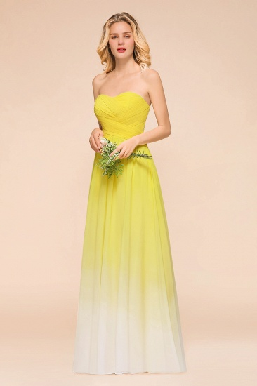 Fashionable Sweetheart Ruffle Yellow Ombre Bridesmaid Dress_4
