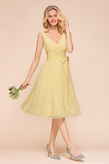 BMbridal Affordable V-Neck Daffodil Chiffon Short Bridesmaid Dress with Ruffle_4