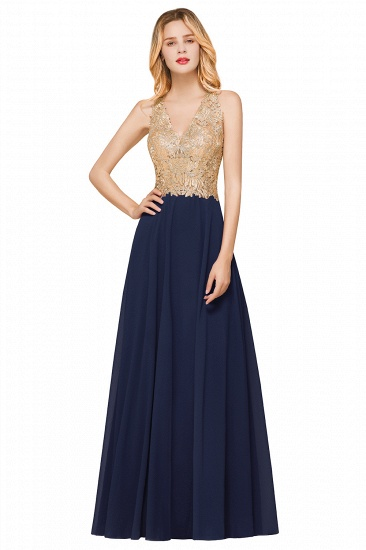 BMbridal Gorgeous V-Neck Burgundy Prom Dress Long Sleeveless Evening Gowns With Appliques_5