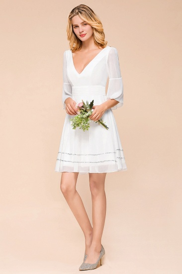 Chic V-Neck 3/4 Sleeves Short White Bridesmaid Dress with Sequins_7