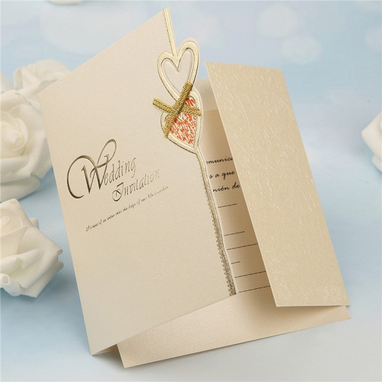 BMbridal Modern Tri-Fold Heart Bowknot Invitation Cards (Set of 50)_6