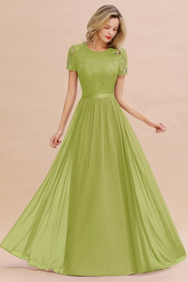 Elegant Chiffon Lace Jewel Short-Sleeves Affordable Bridesmaid Dress_34