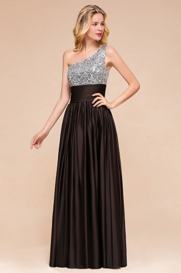 Affordable One Shoulder Sequins Long Bridesmaid Dresses with Ruffle_9