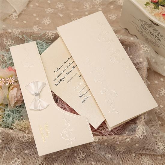 Modern Side-Fold Crystal Bowknot Style Invitation Cards (Set of 50)_7