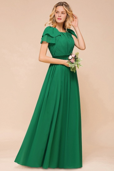 Emerald Short Sleeves Chiffon Ruffles Long Bridesmaid Dresses Online_6