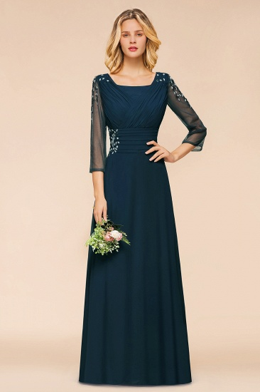 BMbridal Elegant 3/4 Sleeves Ruffle Navy Chiffon Bridesmaid Dresses with Beadings_1