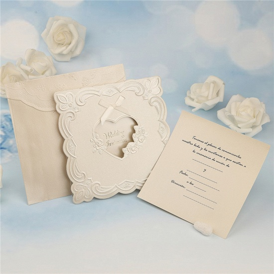 BMbridal Popular Tri-Fold Heart Style Bowknot Invitation Cards (Set of 50)_6
