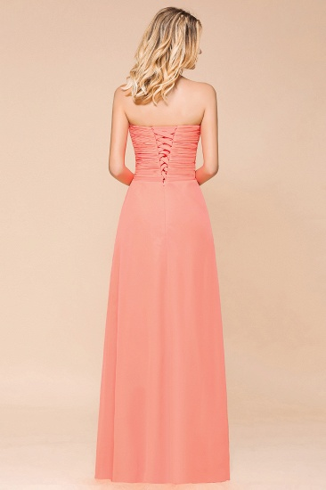 Stylish Sweetheart Ruffle Affordable Coral Chiffon Bridesmaid Dresses Online_3