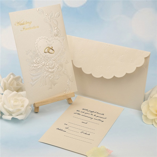 Classic Tri-Fold Imprint Flower Invitation Cards (Set of 50)_3