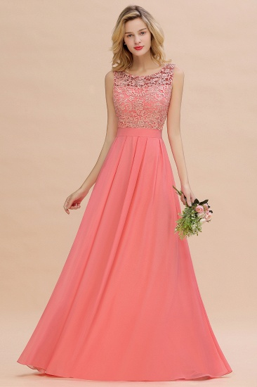 Exquisite Lace Scoop Sleeveless Bridesmaid Dresses Online with Ruffle_6