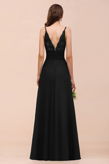 BMbridal Deep V Neck Spaghetti Straps Slit Long Black Bridesmaid Dress_3