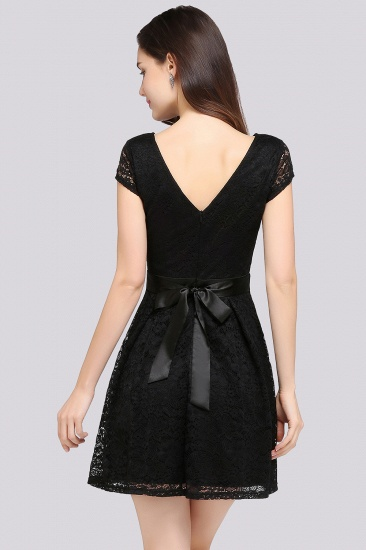 Affordable Black Lace Short-Sleeves Junior Bridesmaid Dresses In Stock_10