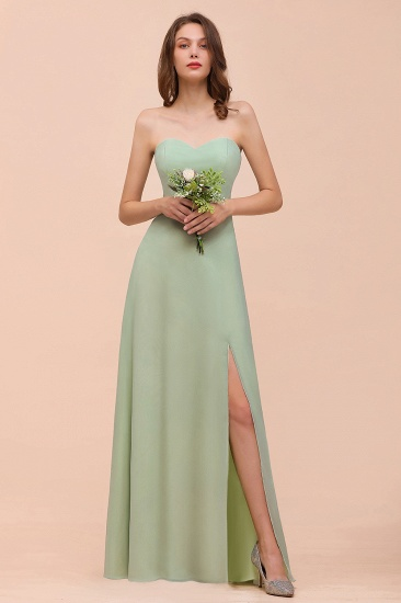 Affordable Strapless Front Slit Long Dusty Sage Bridesmaid Dress_8