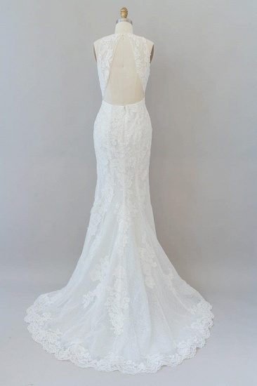 BMbridal Awesome Illusion Lace Mermaid Wedding Dress On Sale_3