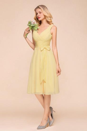 BMbridal Affordable V-Neck Daffodil Chiffon Short Bridesmaid Dress with Ruffle_7