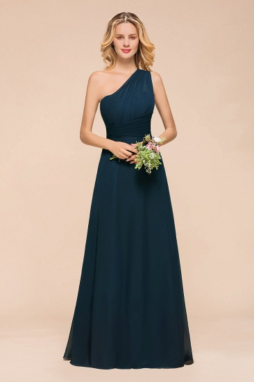 Chic One Shoulder Ruffle Navy Blue Bridesmaid Dress