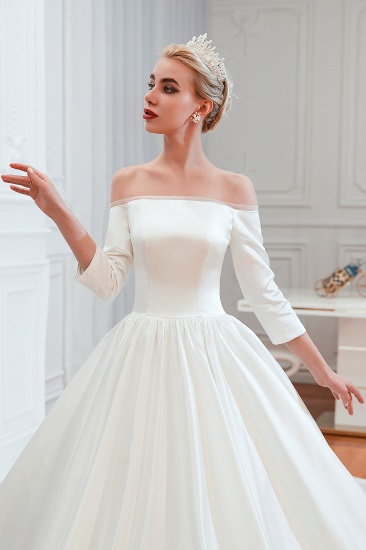 BMbridal Elegant 3/4 Sleeves Princess Satin Wedding Dress Online_10