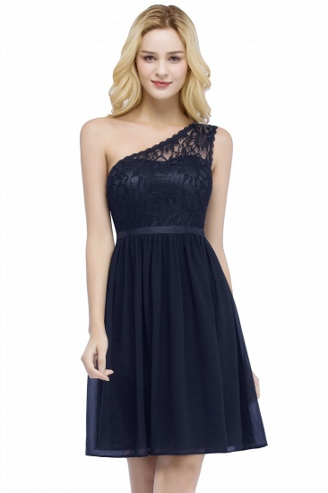 BMbridal A-line Short Scoop Lace Top Chiffon Bridesmaid Dress_1