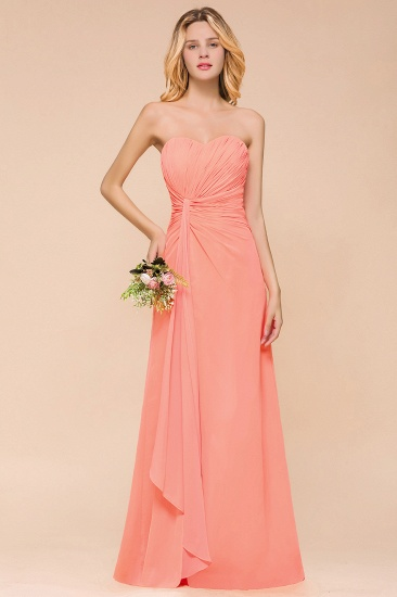 Stylish Sweetheart Ruffle Affordable Coral Chiffon Bridesmaid Dresses Online_2
