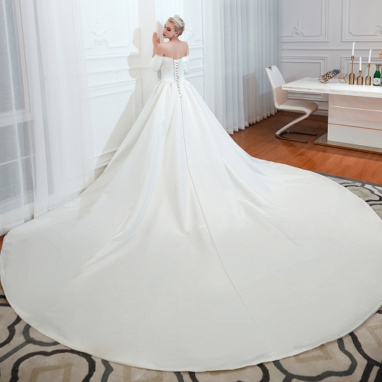 BMbridal Elegant 3/4 Sleeves Princess Satin Wedding Dress Online_6