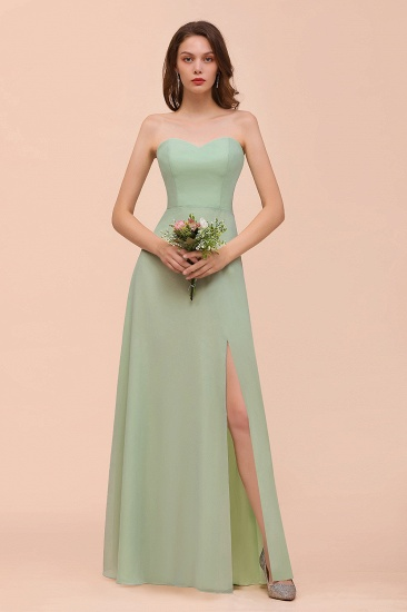 Affordable Strapless Front Slit Long Dusty Sage Bridesmaid Dress_4