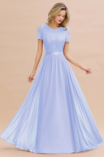 Elegant Chiffon Lace Jewel Short-Sleeves Affordable Bridesmaid Dress_22