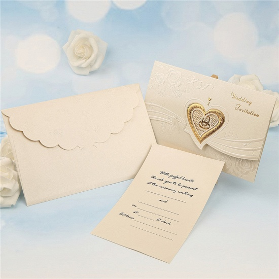 Classic Tri-Fold Hollow Heart Style Invitation Cards (Set of 50)_3