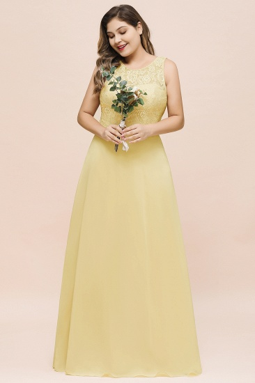 Plus Size Lace Sleeveless Affordable Daffodil Bridesmaid Dress_4
