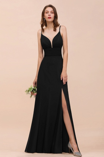 Deep V Neck Spaghetti Straps Slit Long Black Bridesmaid Dress