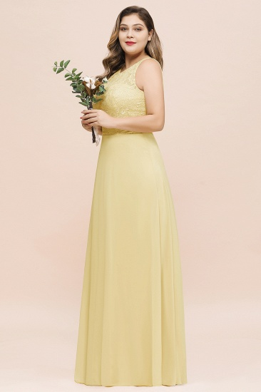 Plus Size Lace Sleeveless Affordable Daffodil Bridesmaid Dress_8