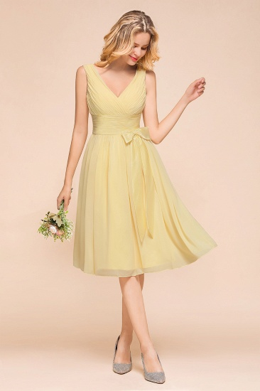 BMbridal Affordable V-Neck Daffodil Chiffon Short Bridesmaid Dress with Ruffle_6