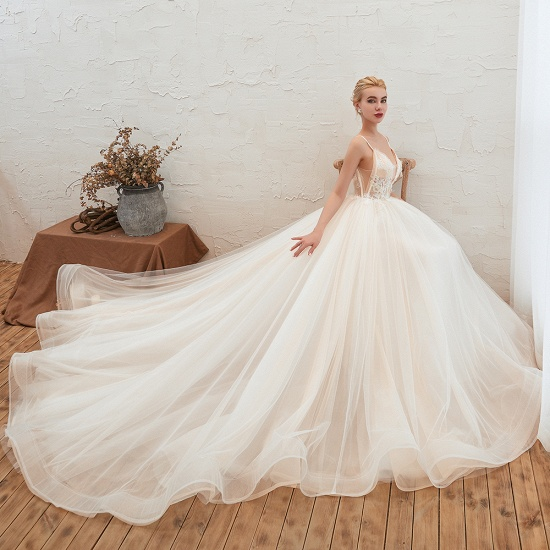 BMbridal Elegant Spaghetti-Starps Tulle Wedding Dress With Appliques_8
