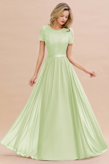 Elegant Chiffon Lace Jewel Short-Sleeves Affordable Bridesmaid Dress_35