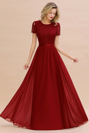 Elegant Chiffon Lace Jewel Short-Sleeves Affordable Bridesmaid Dress_48