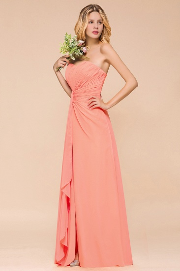 Stylish Sweetheart Ruffle Affordable Coral Chiffon Bridesmaid Dresses Online_5