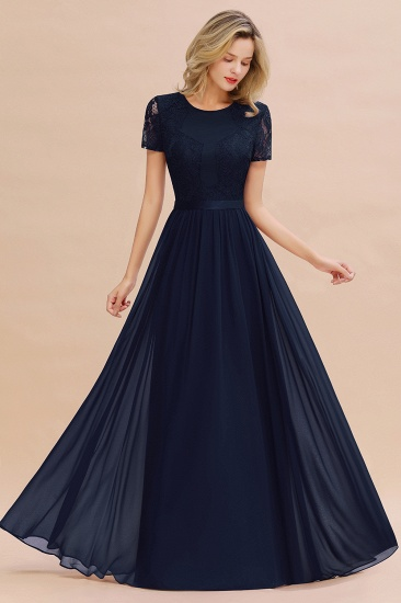 Elegant Chiffon Lace Jewel Short-Sleeves Affordable Bridesmaid Dress_28