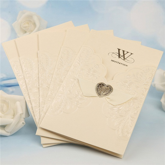 Classic Tri-Fold Imprint Heart Style Invitation Cards (Set of 50)