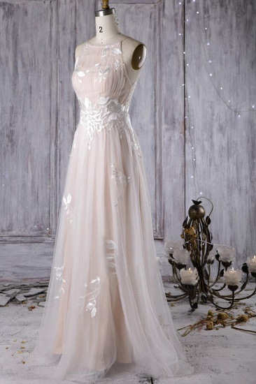 BMbridal Chic Ruffle Floor Length Tulle A-line Wedding Dress Online_4
