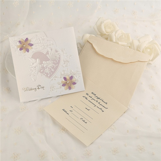 Classic Side-Fold Heart Imprint Invitation Cards (Set of 50)_1