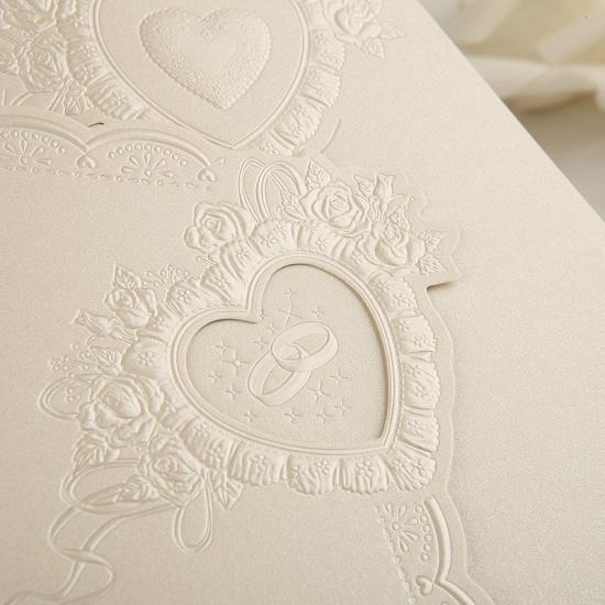 Elegant Tri-Fold Invitation Cards Heart Style (Set of 50)_3