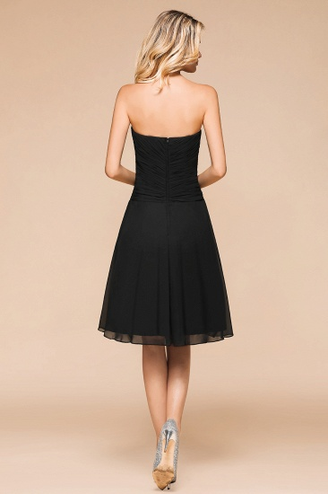 BMbridal Sweetheart Ruffle Short Black Bridesmaid Dress_3