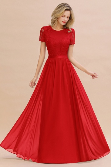 Elegant Chiffon Lace Jewel Short-Sleeves Affordable Bridesmaid Dress_8