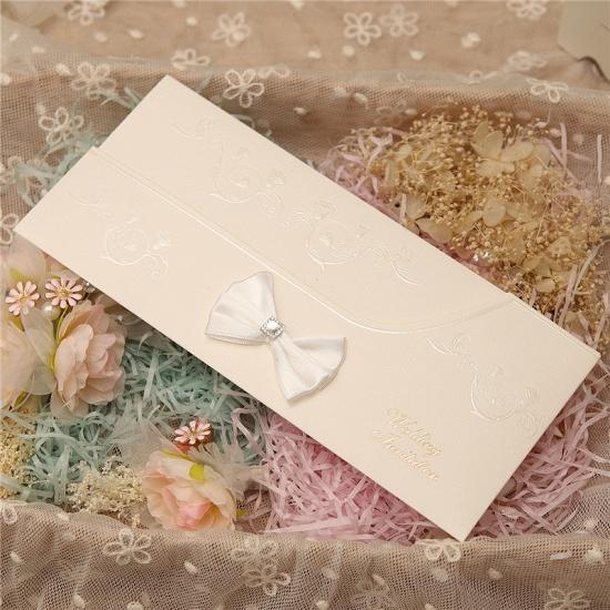 Modern Side-Fold Crystal Bowknot Style Invitation Cards (Set of 50)_3