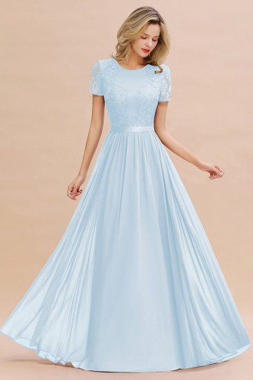 Elegant Chiffon Lace Jewel Short-Sleeves Affordable Bridesmaid Dress_23